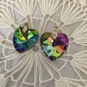 Heart Shape Iridescent Dangle Earrings Pierced